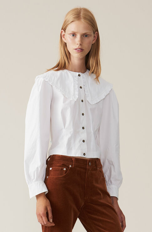 Plain Cotton Poplin Cropped Skjorte, Bright White, hi-res