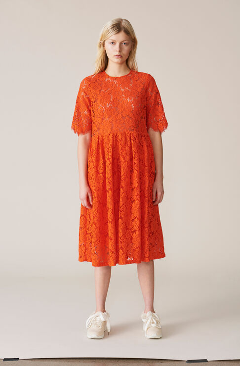 Jerome Lace Dress, Big Apple Red, hi-res