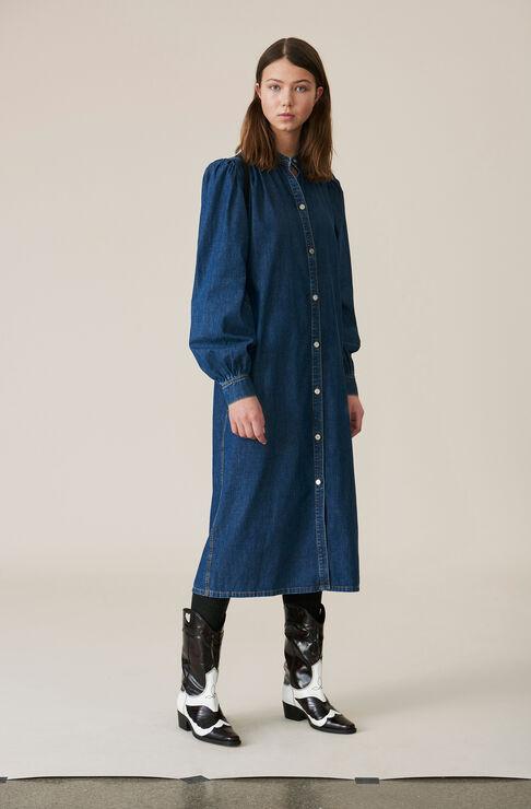 Soft Denim Dress, Medium Dark Denim, hi-res