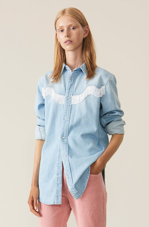 Soft Denim Shirt, Bleached Denim, hi-res