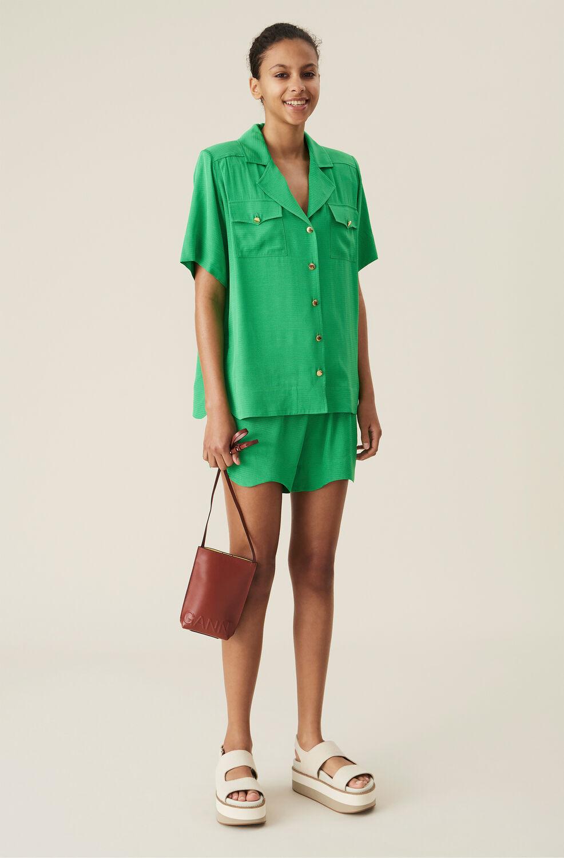 Ganni Green Ripstop Drawstring Shorts,Kelly Green