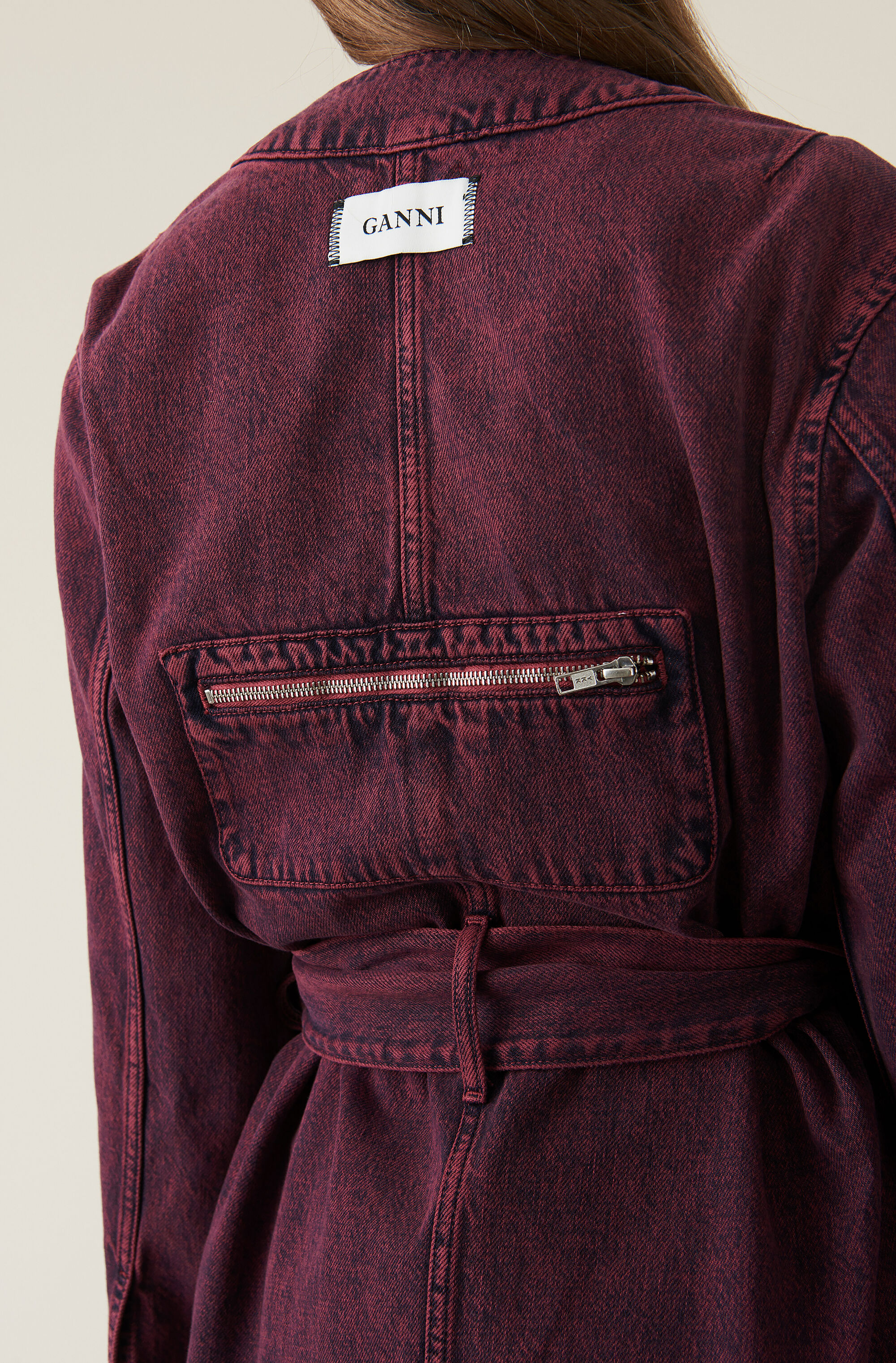 Washed Denim Kimono Short Jacket, Port Royale, model