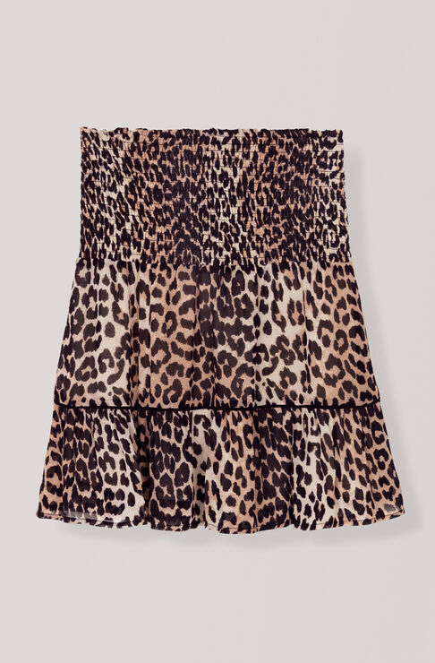 Printed Georgette Mini Skirt, Leopard, hi-res
