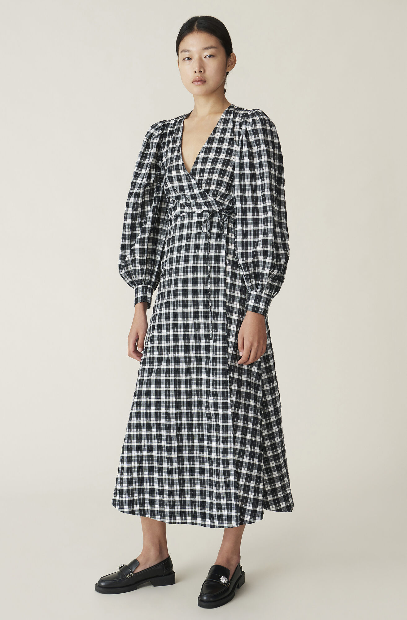 Ganni Us Seersucker Check Wrap Dress 118 00 Usd Shop Your