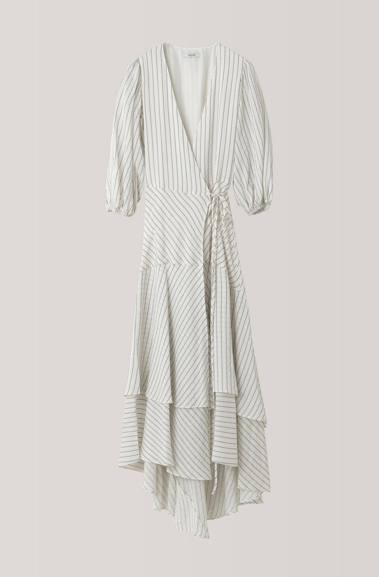 Wilkie Seersucker Wrap Dress, Vanilla Ice, hi-res