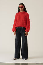 Hand Knit Wool Pullover, Fiery Red, hi-res