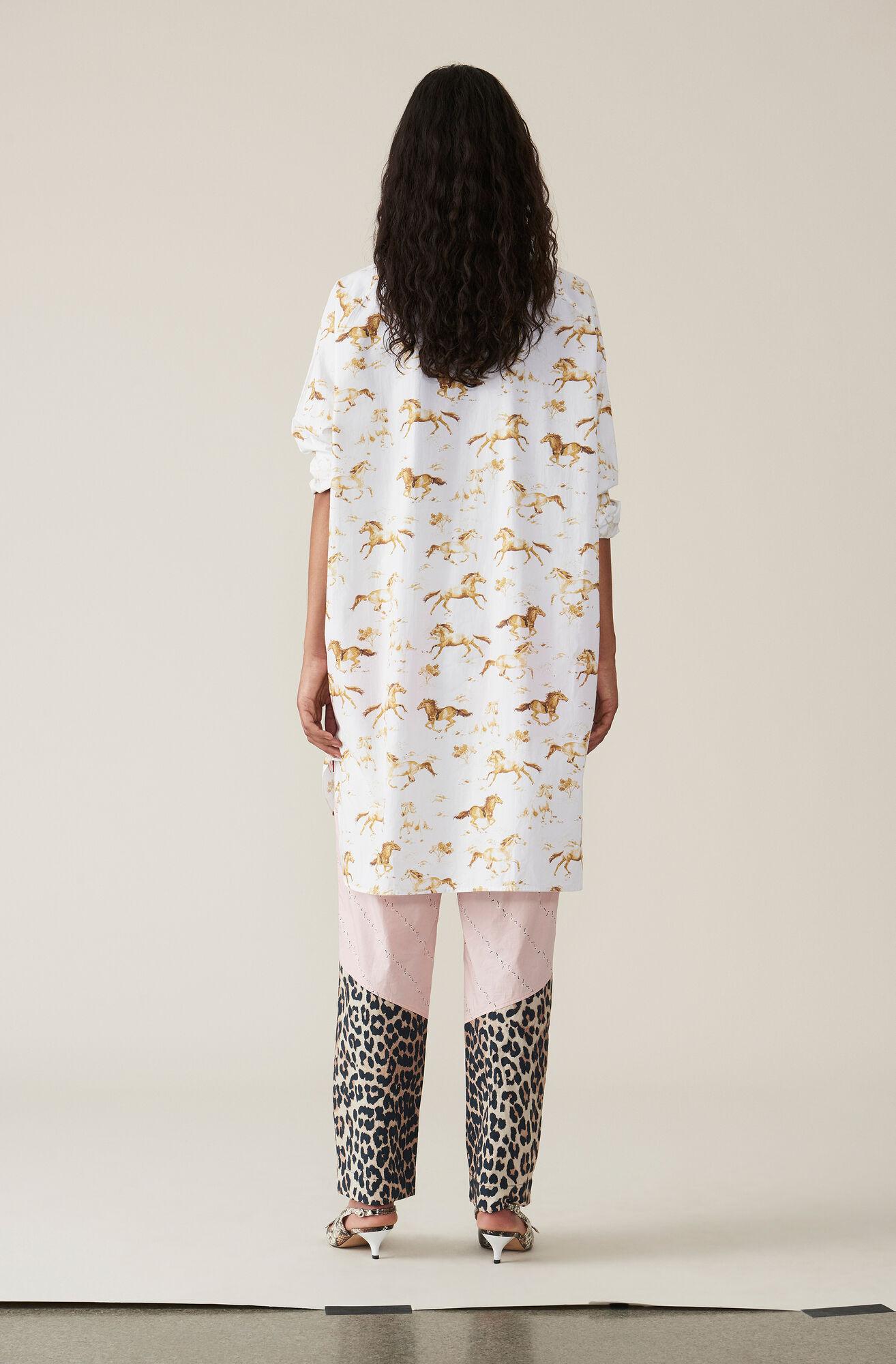 Printed Poplin Skjortklänning, Bright White, hi-res