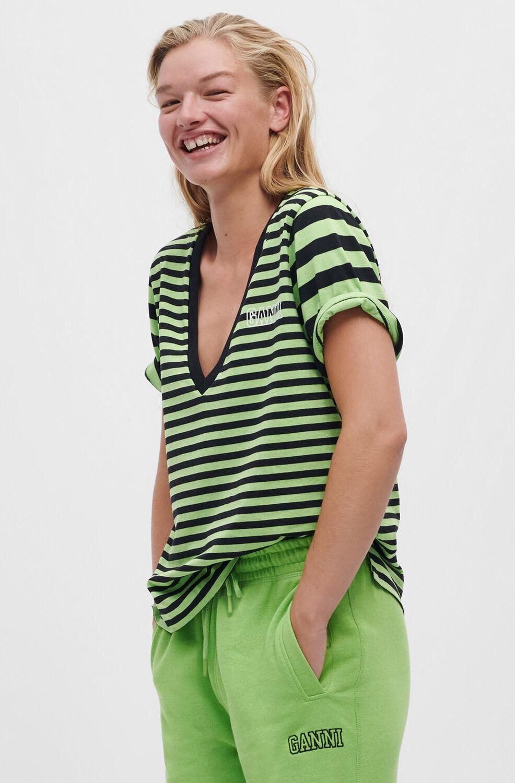 가니 반팔티 Ganni Thin Software Striped Jersey V-neck T-shirt, Stripe,Flash Green