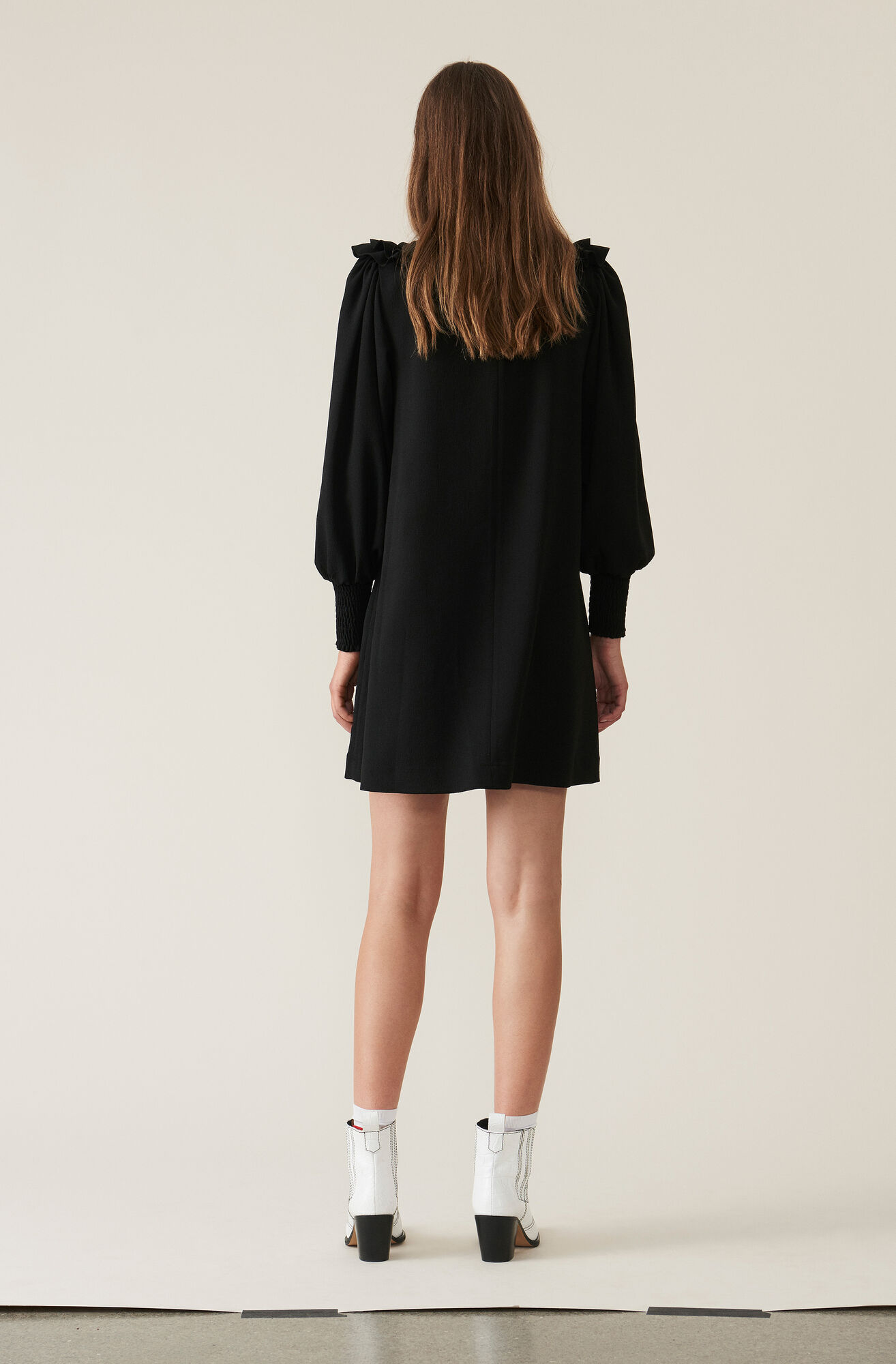 Heavy Crepe Ruffle Dress, Black, hi-res