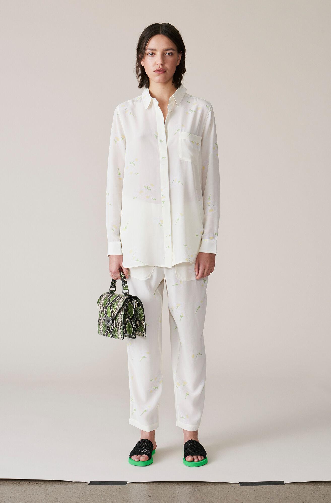 Nolana Silk Shirt, Egret, hi-res