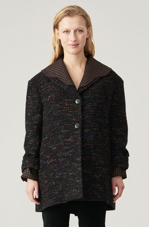 가니 울혼방 자켓 Ganni Recycled Wool Blend Oversized Jacket,Black