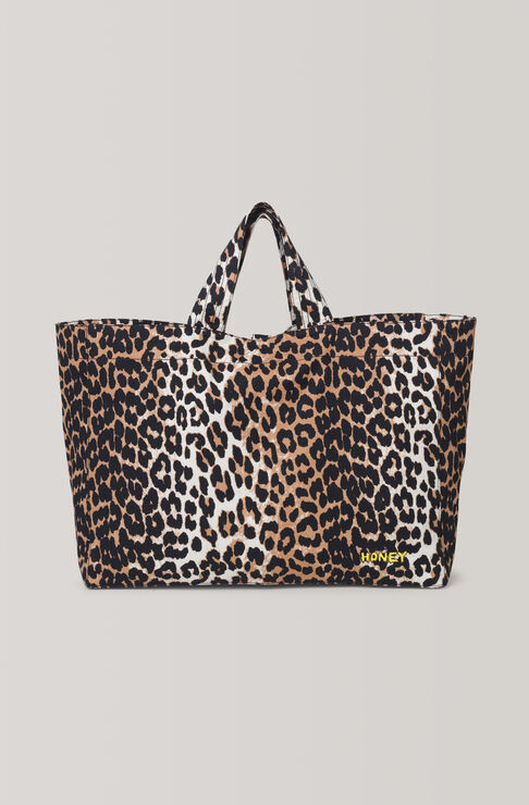 Fabre Cotton Tote Bag, Leopard, hi-res