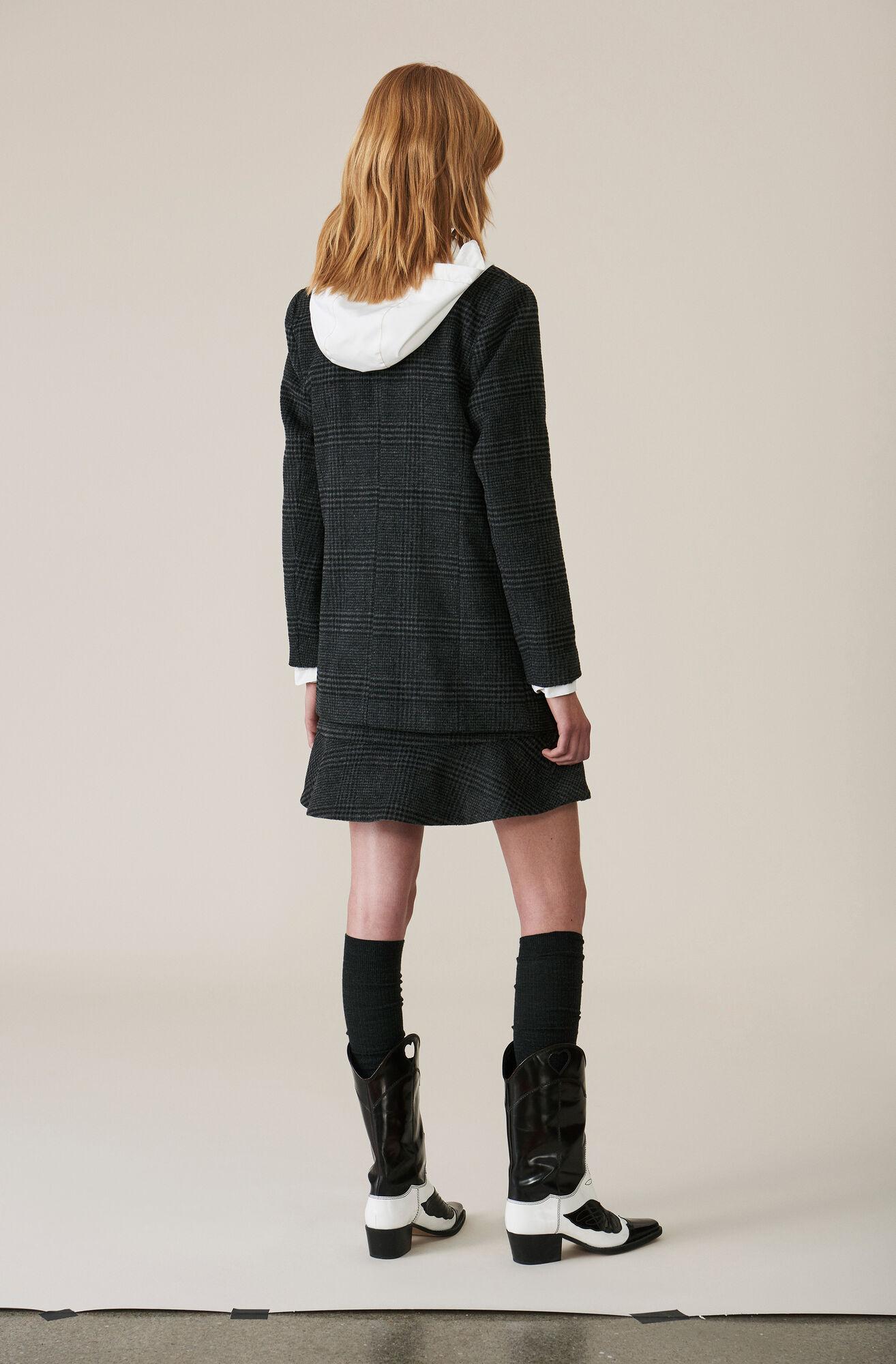 Check Wool Blazer, Ebony Melange, hi-res