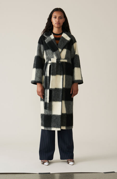 Pattern Wool Langer Wickelmantel, Egret, hi-res