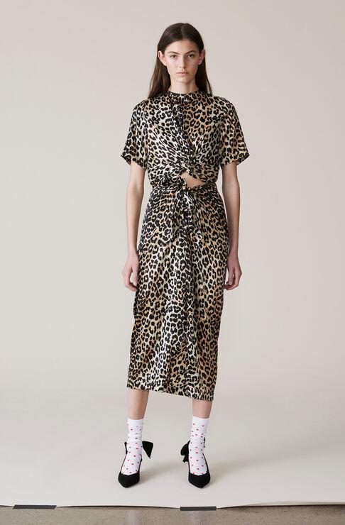 Calla Silk Skirt, Leopard, hi-res