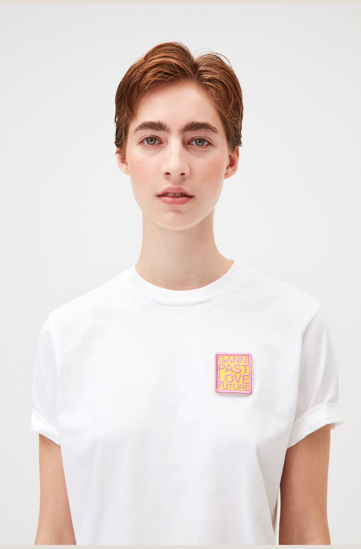 가니 반팔티 Ganni Velcro Patch Smiley Graphic Tee,Bright White