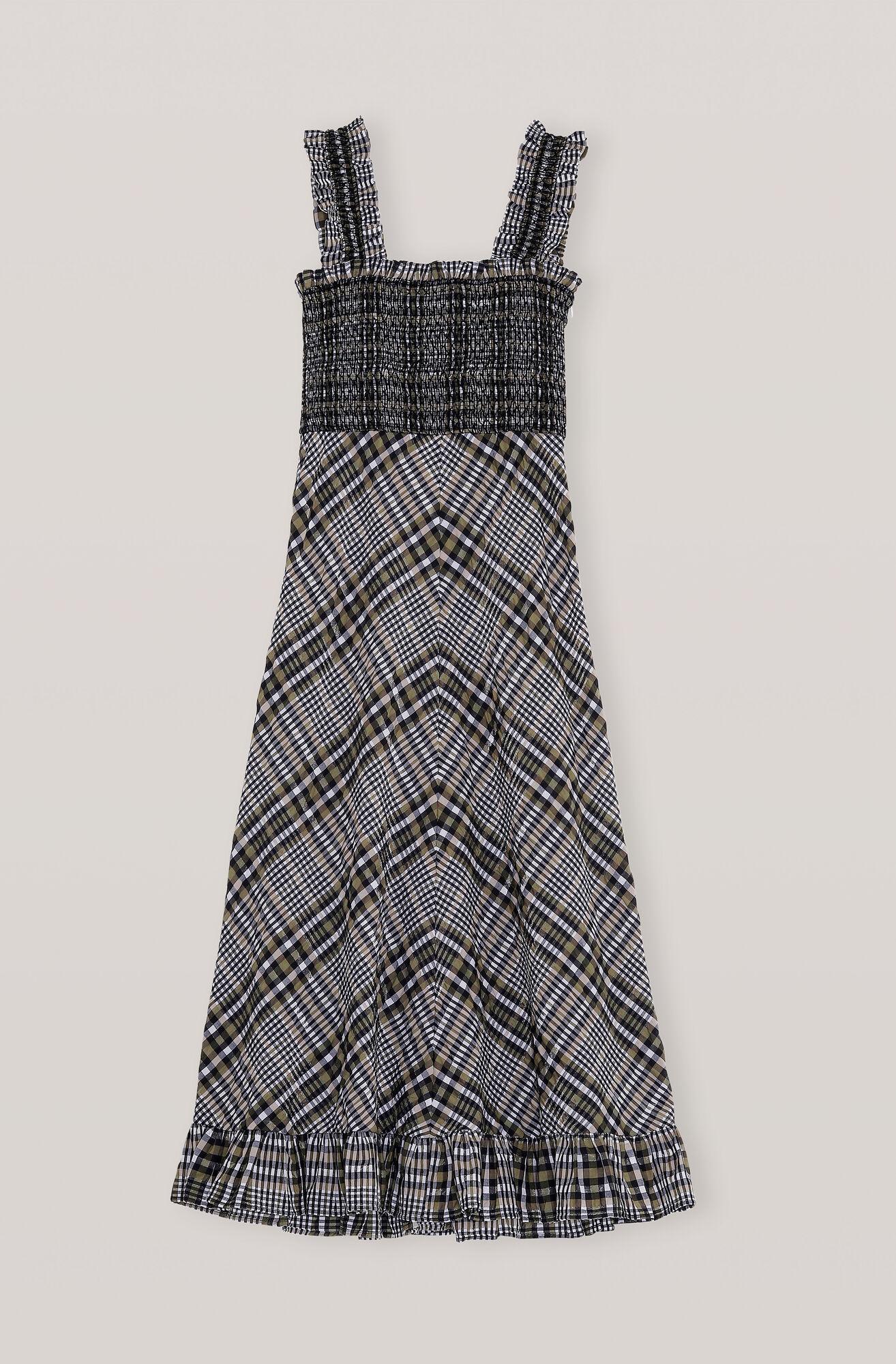 Ganni Seersucker Check Maxi Dress 1699 00 Dkk Shop Your New