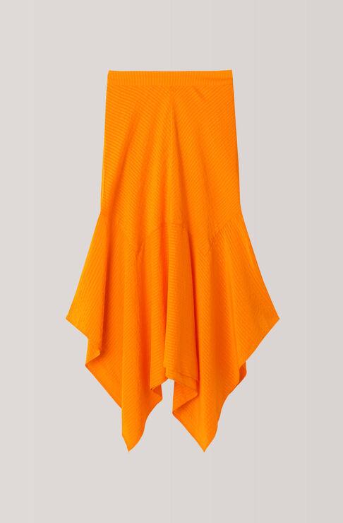 Wilkie Seersucker Skirt, Turmeric Orange, hi-res