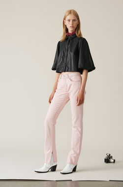 Washed Denim Slit Pants, Silver Pink Overdyed, hi-res