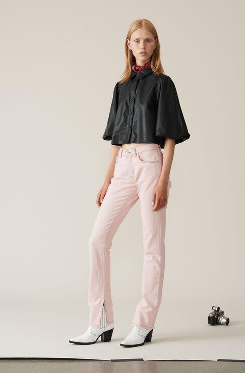 Washed Denim Slit Pants, Silver Pink Overdyed, hi-res