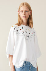 Oversized Heavy Cotton Jersey Oversized T-shirt, Western, Bright White, hi-res