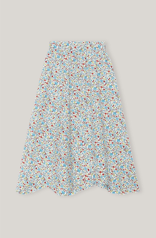 Ganni Organic Cotton High-Rise Midi Skirt,Papyrus