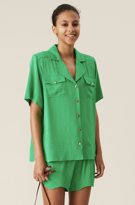 가니 셔츠 Ganni Green Ripstop Short-sleeves Shirt,Kelly Green