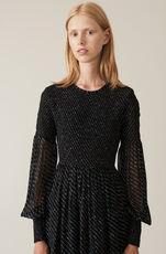 Printed Georgette Smockklänning, Black, hi-res
