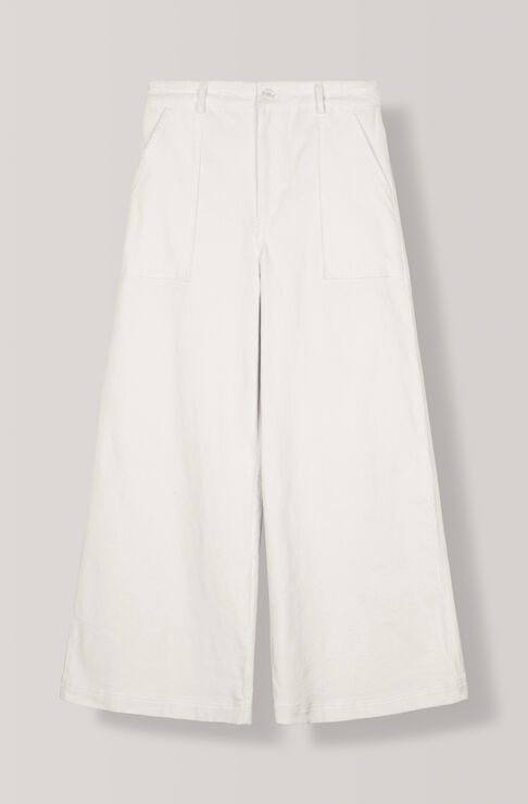 Stretch Corduroy Wide Pants, Egret, hi-res