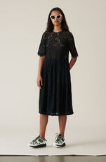 Cotton Lace Kleid, Black, hi-res