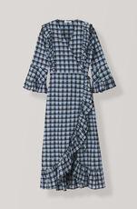 Seersucker Check Omlottklänning, Serenity Blue, hi-res