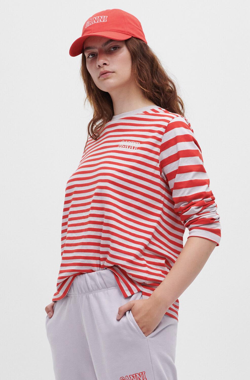 가니 티셔츠  Ganni Thin Software Striped Jersey O-neck Long Sleeve T-shirt, Thin Stripe,High Risk Red