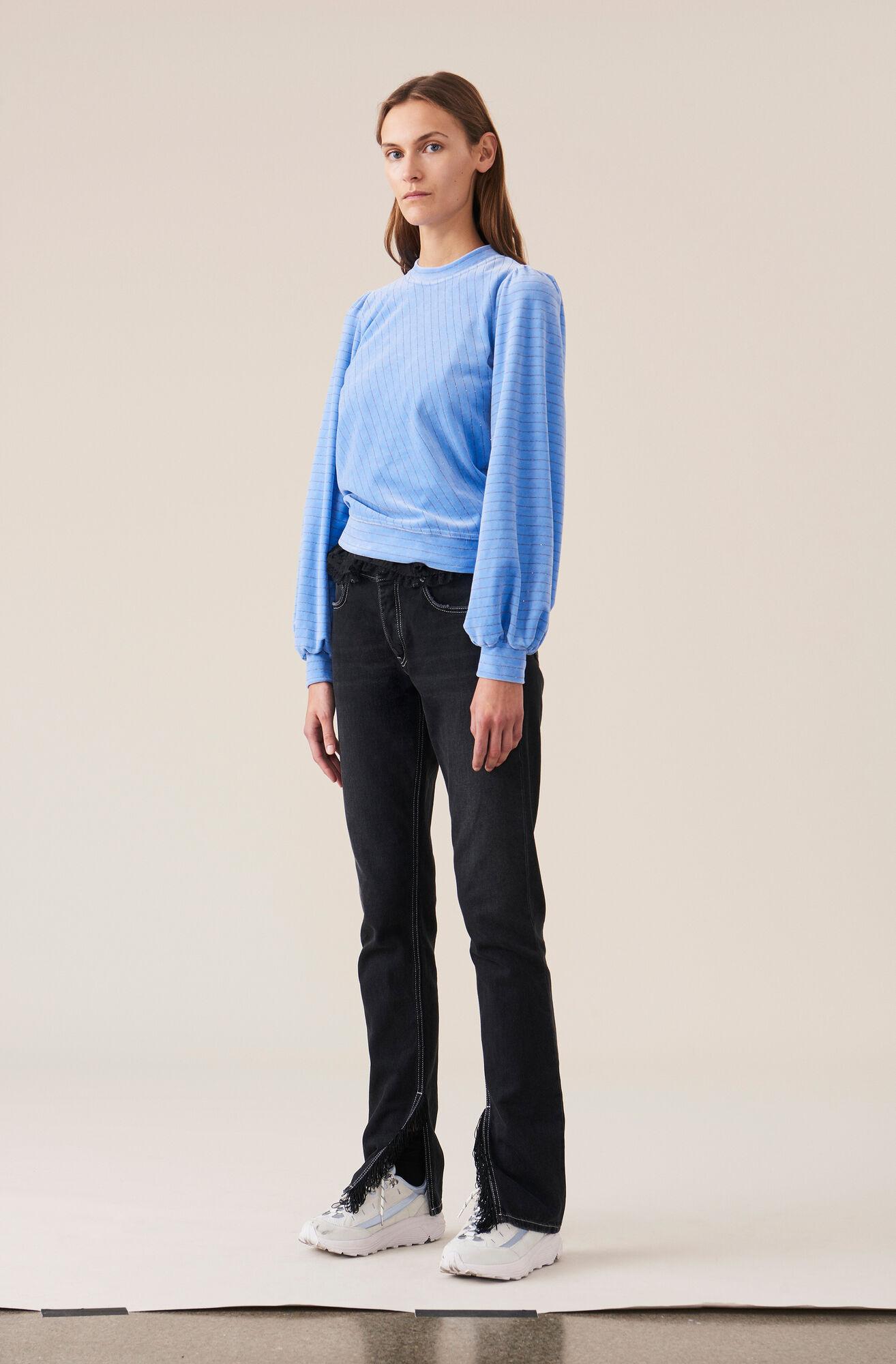 Velvet Jersey Puff Sweatshirt, Serenity Blue, hi-res