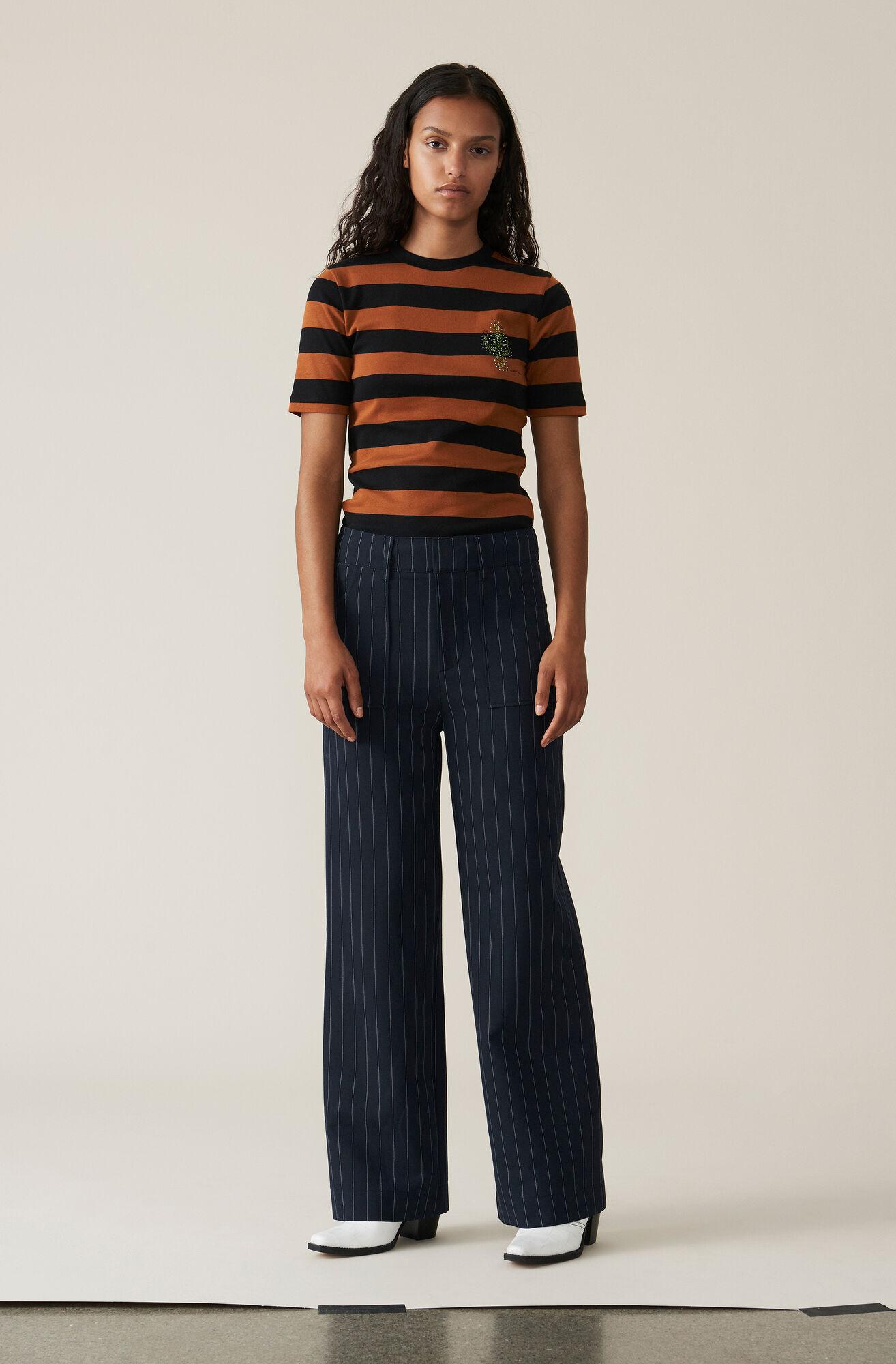 Stripe Rib T-shirt, Cactus, Caramel Café, hi-res
