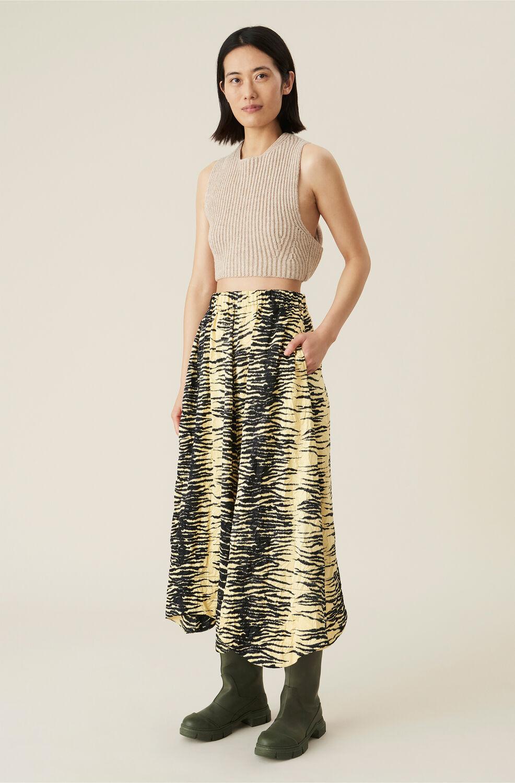 Ganni Crinkled Satin Skirt,Pale Banana