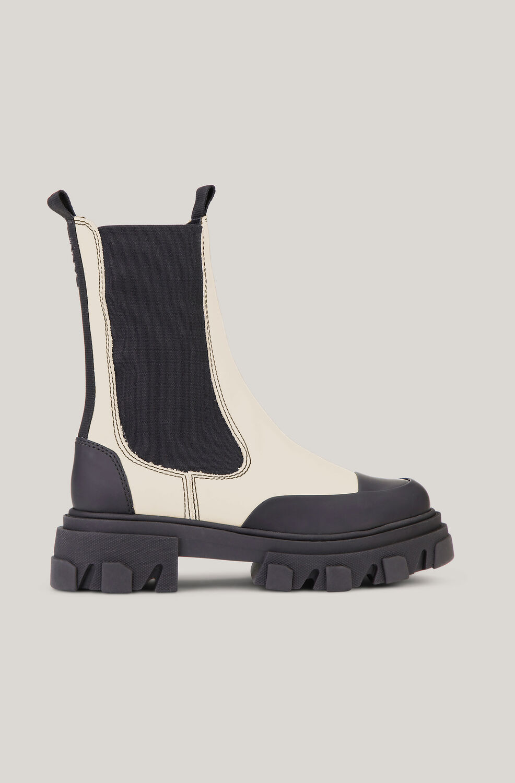 가니 미드 부츠 Ganni Leather Mid-Calf Chelsea Boots,Oyster Gray