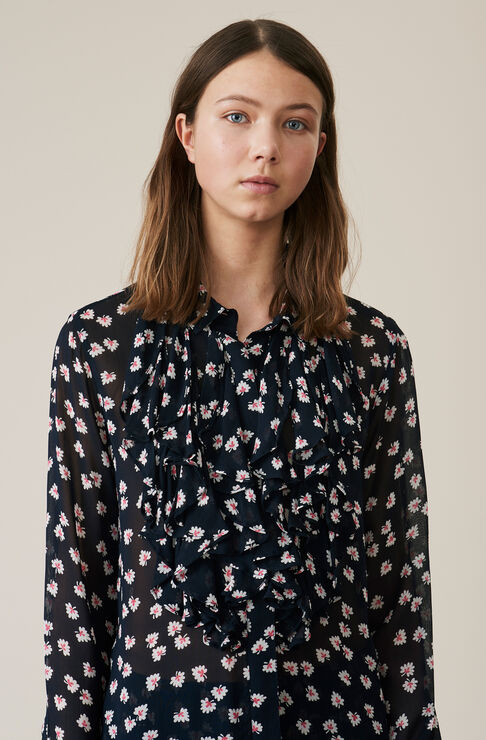 Rometty Georgette Shirt, Total Eclipse, hi-res