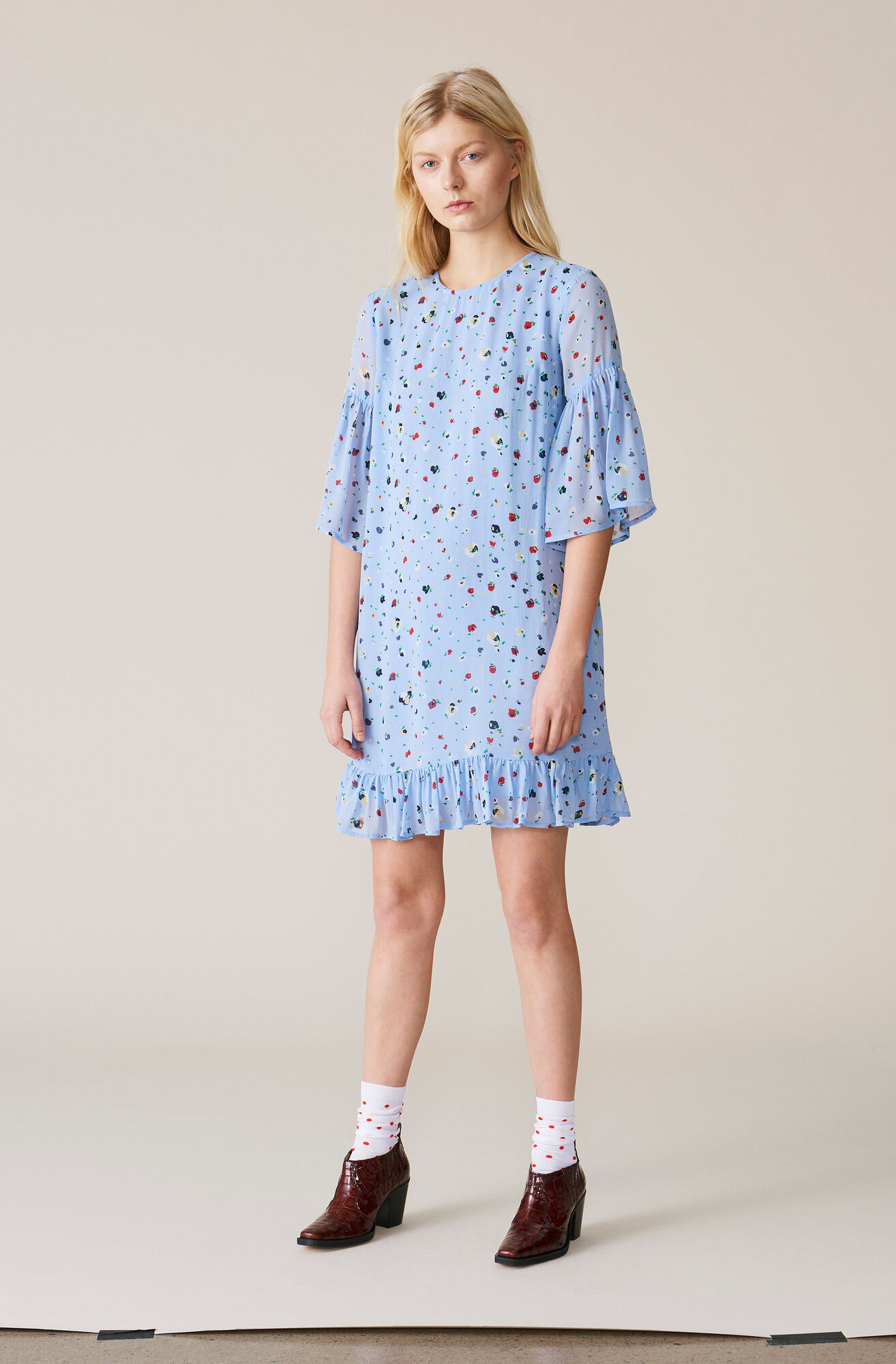 7d0dba81632a Shoptagr | Dainty Georgette Mini Dress by Ganni