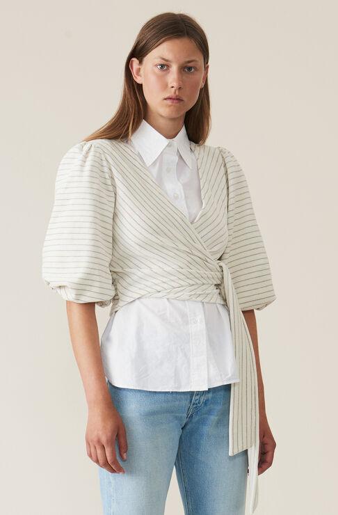 Velvet Jersey Wrap Top, Egret, hi-res