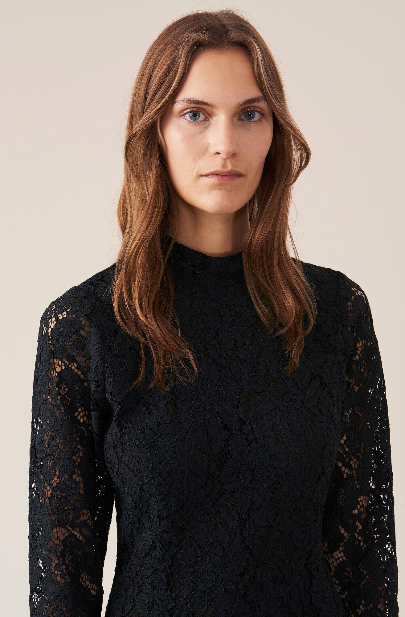 Cotton Lace Kjole, Black, hi-res