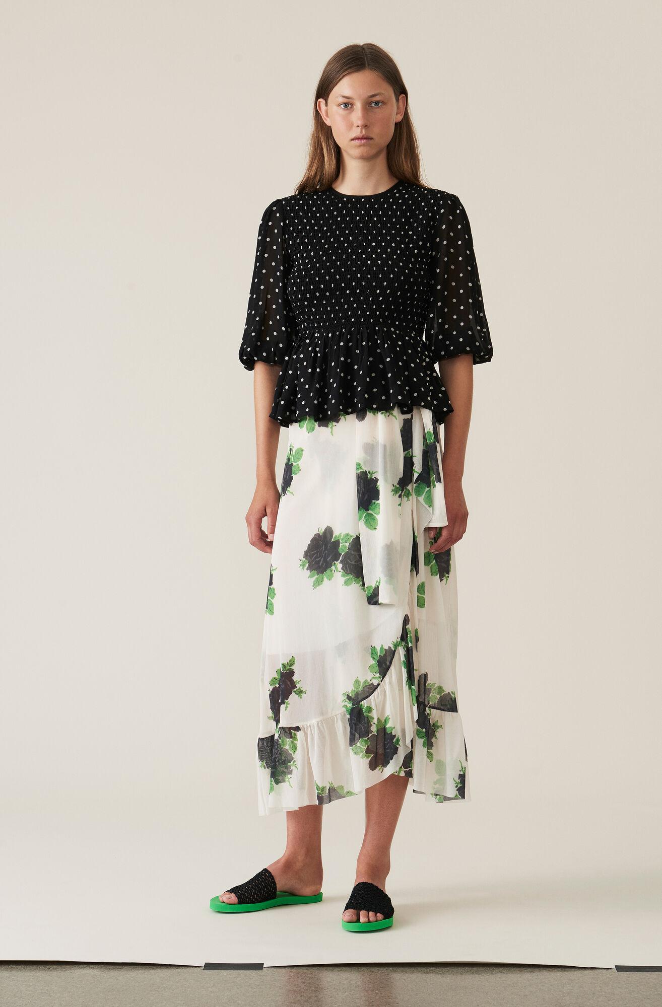 Printed Mesh Wrap Skirt, Vanilla Ice, hi-res