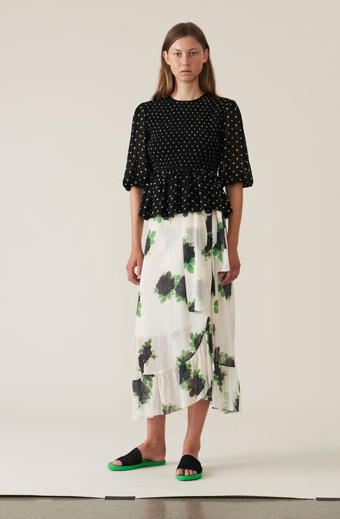 Printed Mesh Wrap Skirt, Vanilla Ice, hi-res