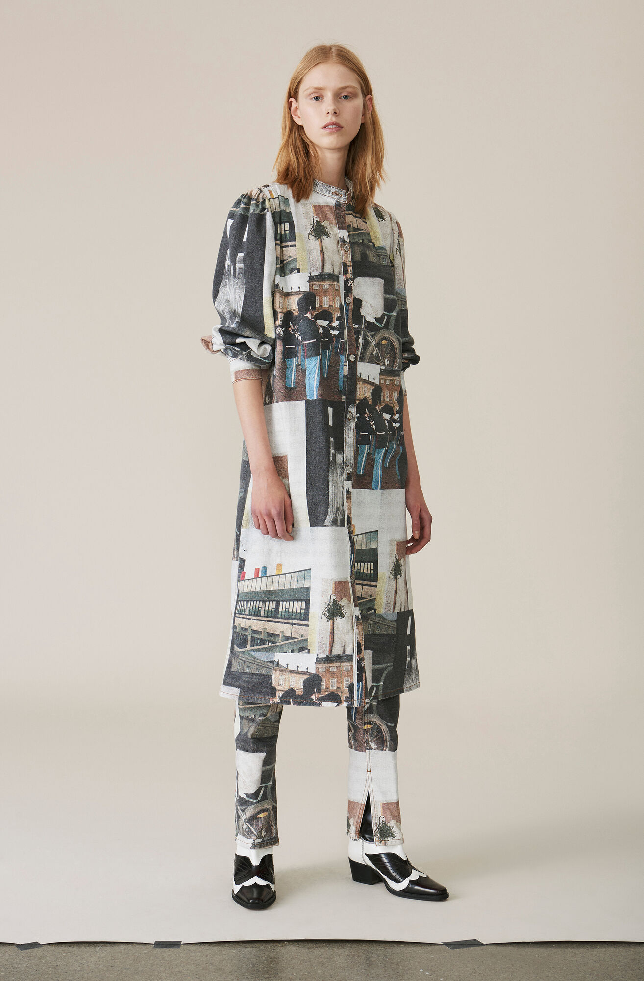 Printed Soft Denimkleid, Multicolour, hi-res