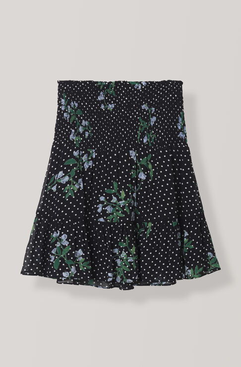 Rometty Georgette Mini Skirt, Black, hi-res