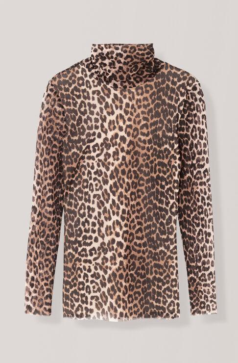 Printed Mesh Rollneck, Leopard, hi-res