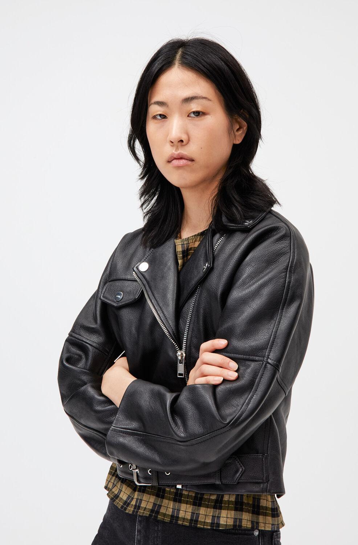 가니 가죽 자켓 Ganni Leather Motorcycle Jacket,Black