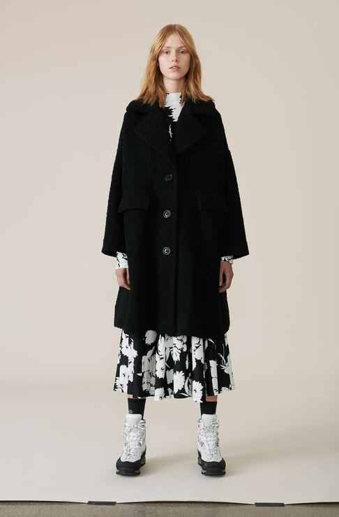 Boucle Wool Oversized Kappa, Black, hi-res