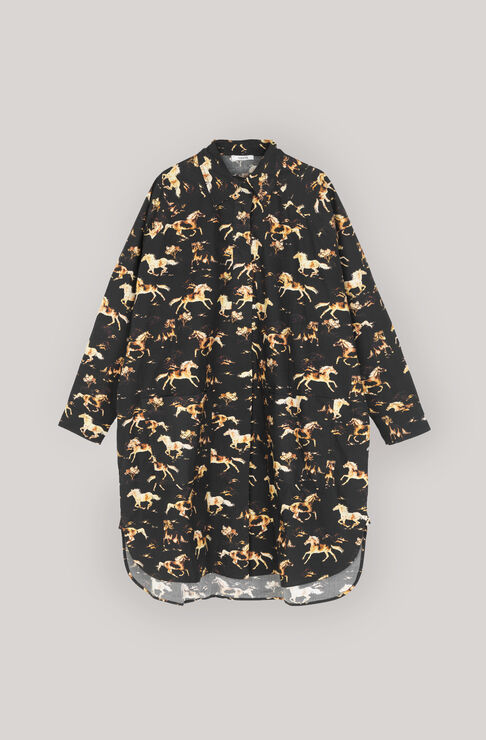 Printed Poplin Shirt Dress, Black, hi-res