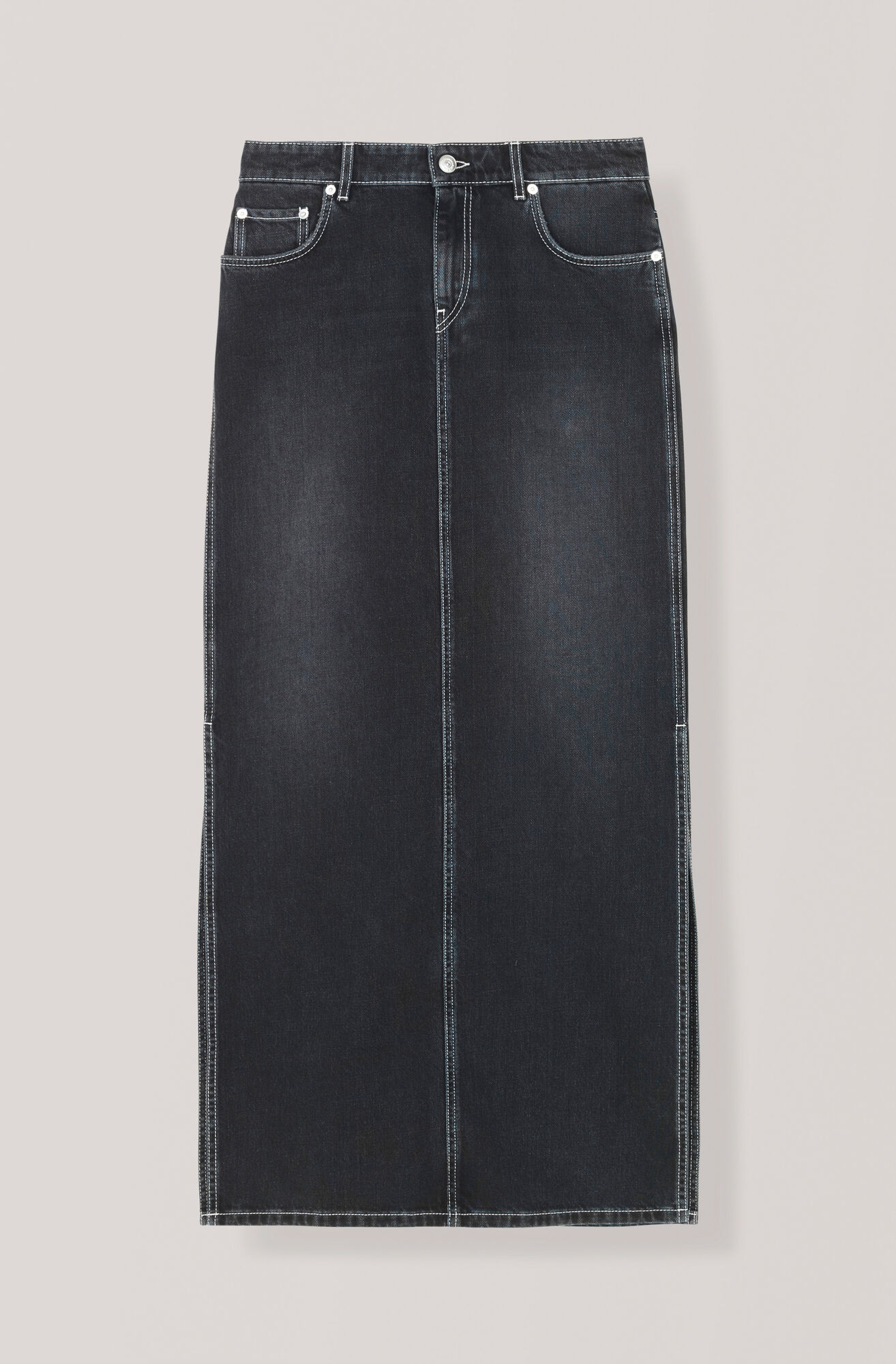 Black Washed Denim Maxi Skirt, Black Washed, hi-res