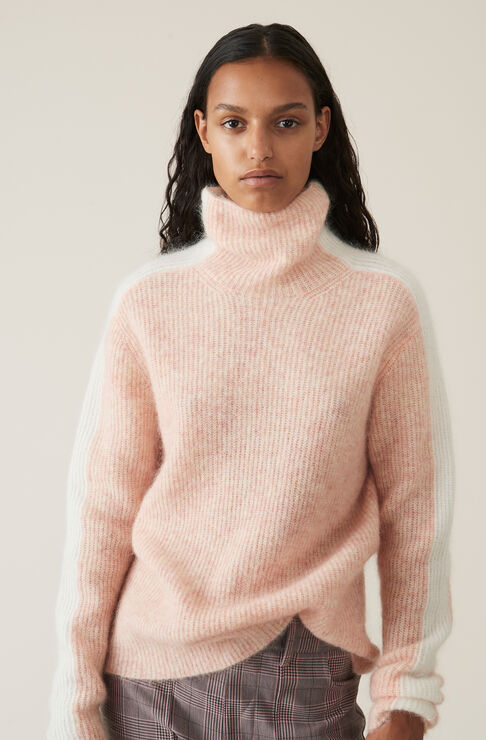 Soft Wool Knit Pullover, Silver Pink, hi-res